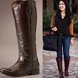 Frye Brown Leather Melissa Button